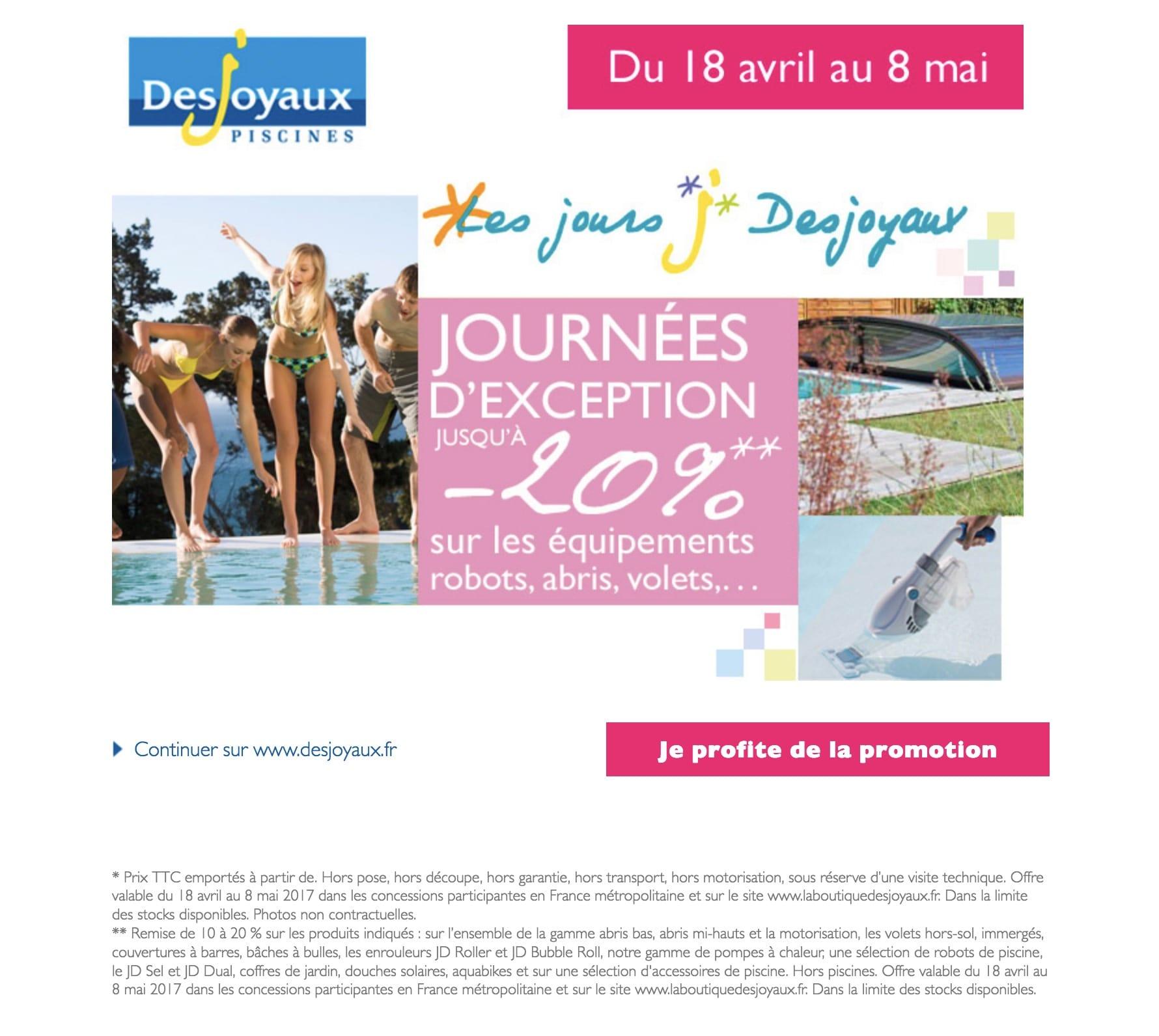 Promotion Desjoyaux sur les abris piscine
