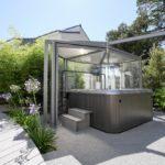 Abri spa Abrisud pour un spa hors sol - vue de l'extérieur
